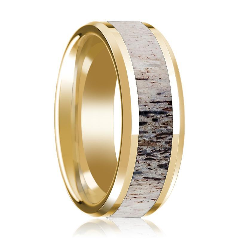 14K Yellow Gold Wedding Ring Inlaid with Ombre Deer Beveled Edge and Polished - AydinsJewelry