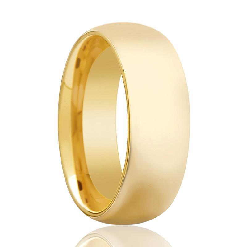 Aydins Gold Tungsten Wedding Band Shiny Polished Tungsten Carbide Ring Domed 4mm, 5mm, 7mm, 9mm Mens and Womens Tungsten - AydinsJewelry