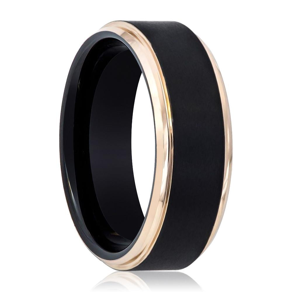 Black and Rose Gold Stepped Edge Tungsten Men's Wedding Band - AydinsJewelry