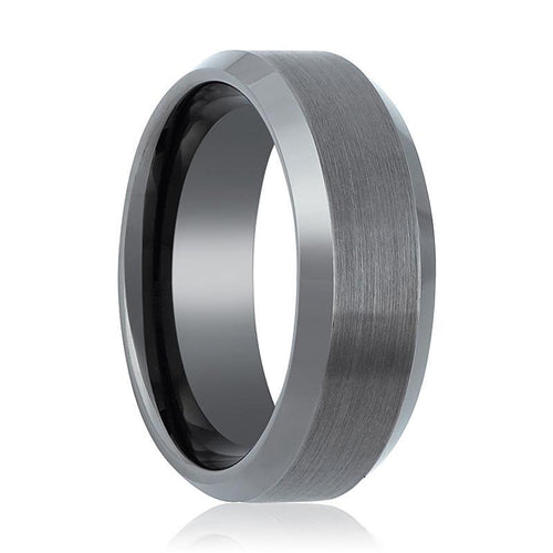 Gun Metal Brushed Beveled Edge Tungsten Ring