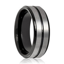 Aydins Tungsten Mens Wedding Band Gun Metal Brushed w/ Black Groove 8mm Tungsten Carbide Ring - AydinsJewelry