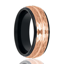 Aydins Black & Rose Gold Grooved Tungsten Hammered Center Wedding Ring for Men 8mm Stepped Edge Tungsten Carbide Wedding Band - AydinsJewelry