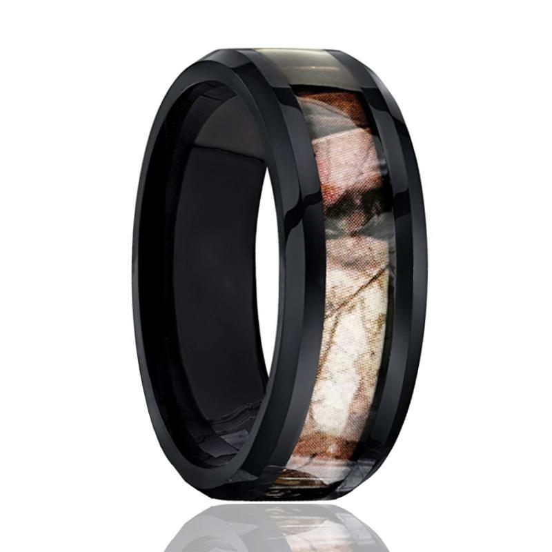 Black Tungsten Ring - Camo Ring - Forest Camo - Mens Wedding Band - Comfort Fit - Tungsten Carbide Wedding Ring -  8mm Beveled Edge - AydinsJewelry