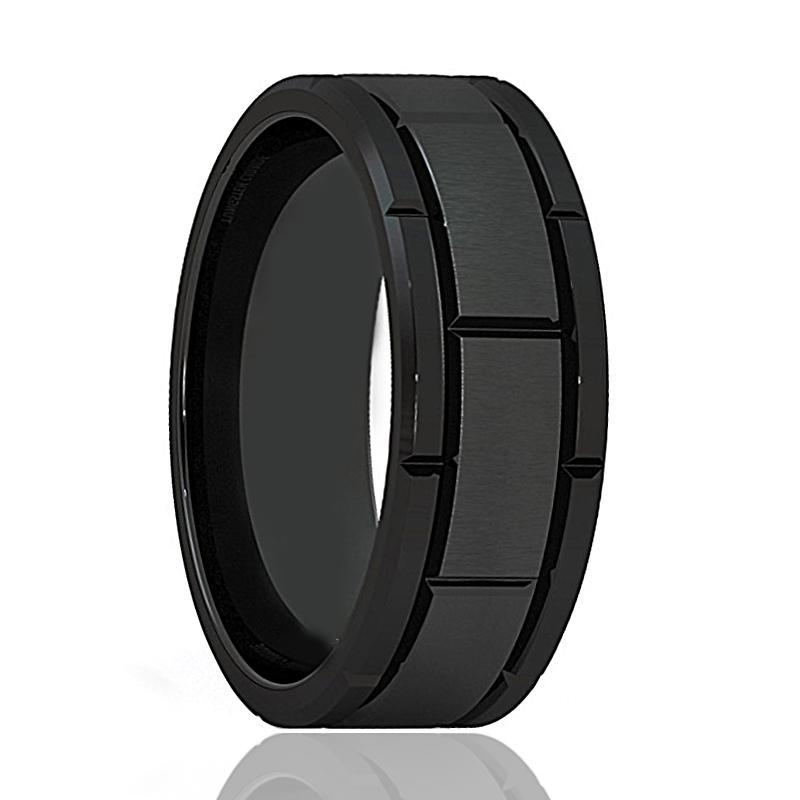 AZRAEL Black Tungsten Carbide Brushed Sections - AydinsJewelry