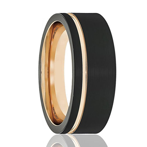 FALCON Thin Off Set Rose Gold Groove Tungsten - AydinsJewelry