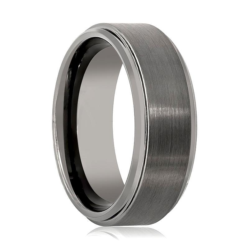 Aydins Tungsten Carbide Mens Wedding Band Gun Metal Brushed Tungsten Ring - AydinsJewelry