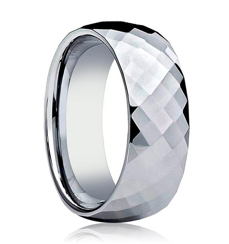 Aydins Tungsten Wedding Ring Shiny Polished Faceted Center Domed 6mm, 8mm Tungsten Carbide Mens & Womens Band - AydinsJewelry