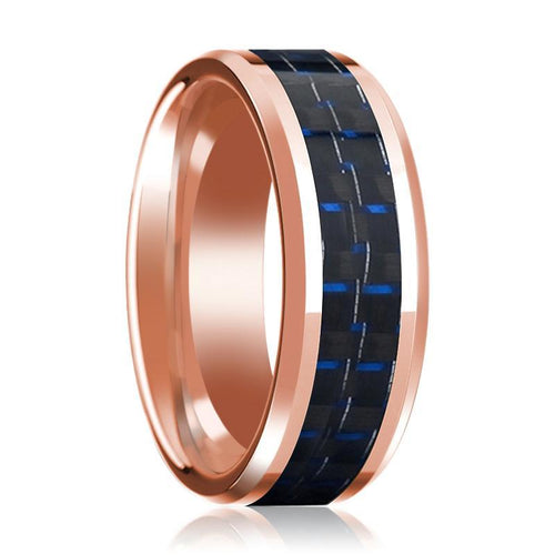 Mens Wedding Ring 14K Rose Gold with Blue & Black Carbon Fiber Inlay Beveled Edge Polished Band