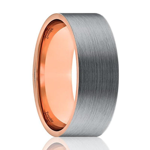 Tungsten Wedding Band - Men and Women - Comfort Fit - Flat Rose Gold & Silver Brushed Beveled Edge - Tungsten Carbide Wedding Ring - 6mm - 9mm - AydinsJewelry