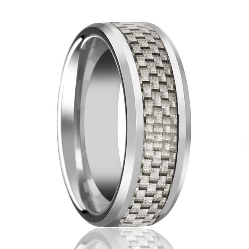 AARON White Carbon Fiber Inlay Tungsten Ring - AydinsJewelry