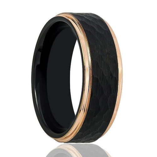 Black and Rose Gold Hammered Tungsten Men's Wedding Band - AydinsJewelry