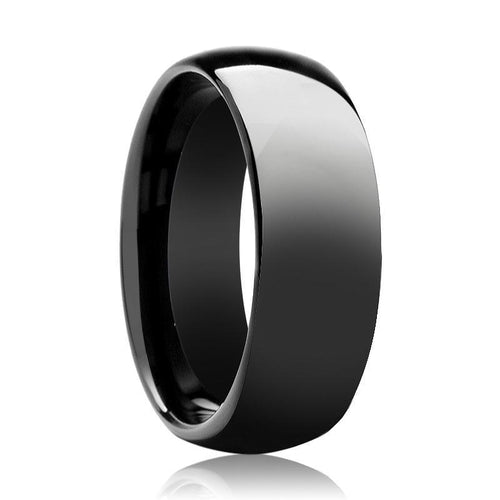 Aydins Tungsten Ring Black Shiny Polished Domed Wedding Band 6mm - 8mm Tungsten Carbide Wedding Ring - AydinsJewelry