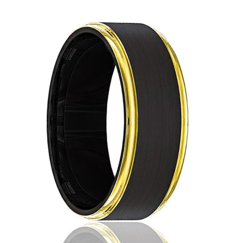 Tungsten Wedding Band Black Brushed Tungsten Yellow Gold Stepped Edges