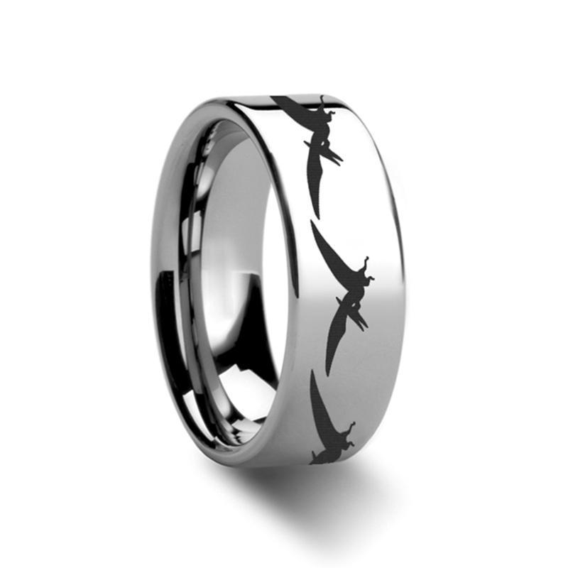 Dinosaur Teradactyl Laser Engraved On Tungsten Carbide Ring - AydinsJewelry