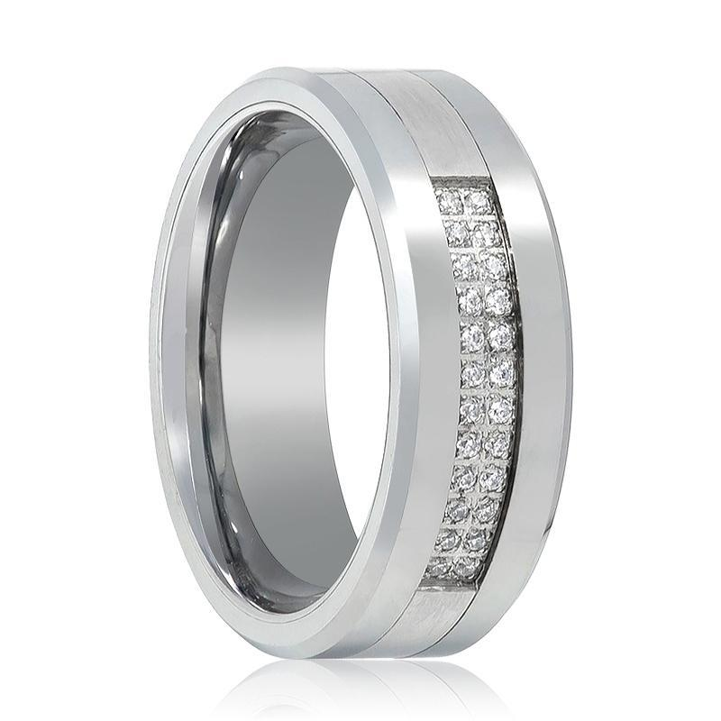 Tungsten Carbide Wedding Band Double Row 24 CZ Ring