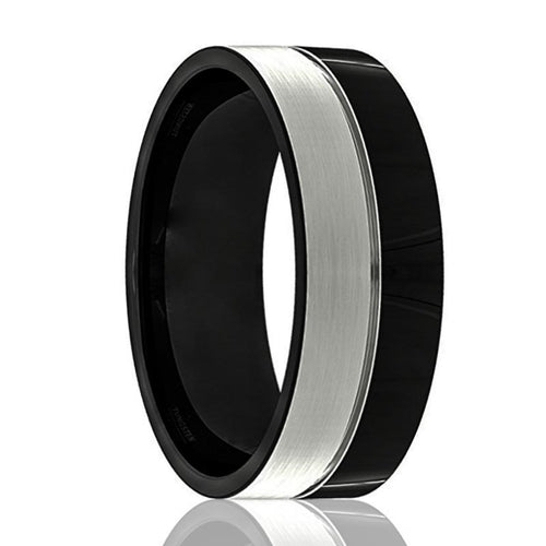 GHOST Black Polished Silver Brushed Tungsten Wedding Ring - AydinsJewelry