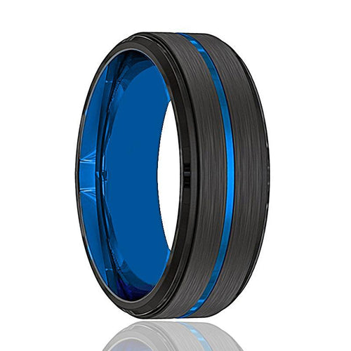 Black Tungsten with Thin Blue Groove Men's Wedding Band - AydinsJewelry