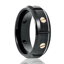 Aydins Tungsten Ring Black w/ Rose Gold Screw Accents Stepped Edge Wedding Band 8mm Tungsten Carbide Wedding Ring - AydinsJewelry