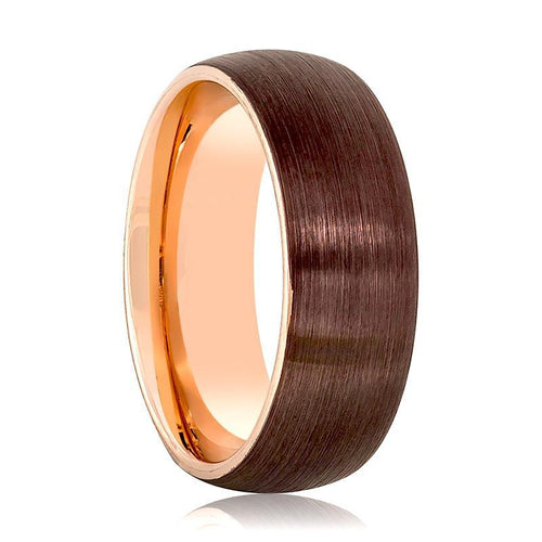 Aydins Rose Gold & Brown Brushed Mens Tungsten Wedding Band 8mm Domed Center Tungsten Carbide Wedding Ring - AydinsJewelry