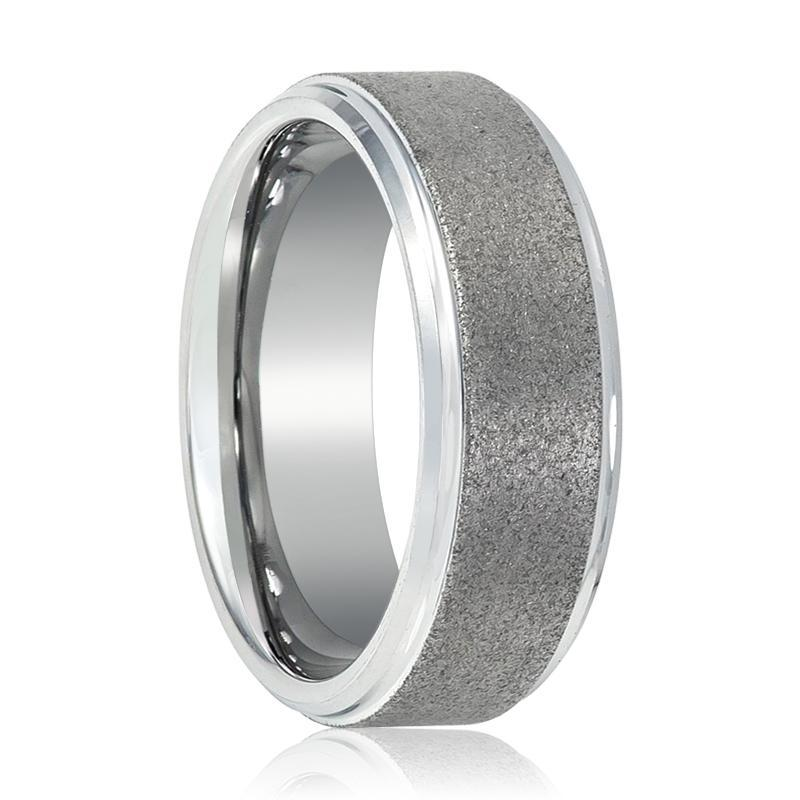 Sandblasted Tungsten Carbide Wedding Band Stepped Edges