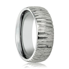 Aydins Mens Tungsten Wedding Band Tree Bark Carved Textured Finish 8mm Tungsten Carbide Ring - AydinsJewelry
