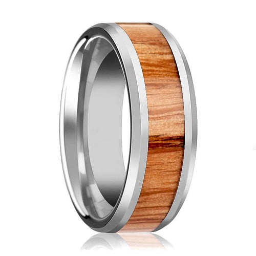 Tungsten Wood Ring - Red Oak Wood  - Tungsten Wedding Band - Polished Finish - 6mm - 8mm - 10mm - Tungsten Wedding Ring - AydinsJewelry