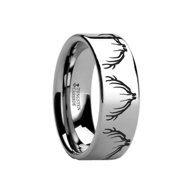 Animal Design Ring - Elk Antler -  Laser Engraved - Flat Tungsten Ring - 4mm - 6mm - 8mm - 10mm - 12mm - AydinsJewelry