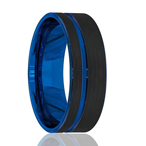GROOT Black Tungsten with Thin Side Blue Groove - AydinsJewelry