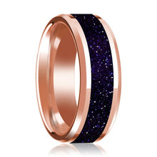 14K Rose Gold Wedding Ring with Purple Goldstone Inlaid Polished Band Beveled Edge - AydinsJewelry