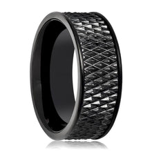 Aydins Tungsten Carbide Black Band w/ Parallelogram Pattern 9mm Tungsten Wedding Ring - AydinsJewelry