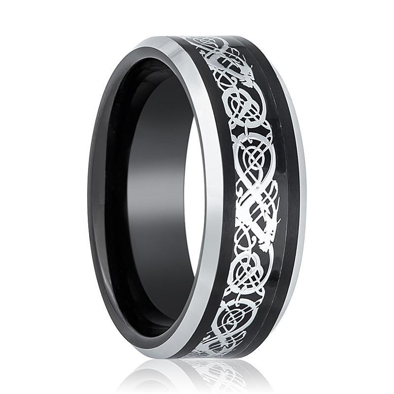 Black Tungsten Wedding Band Polished w/ Silver Celtic Design Cutout Inlay - AydinsJewelry