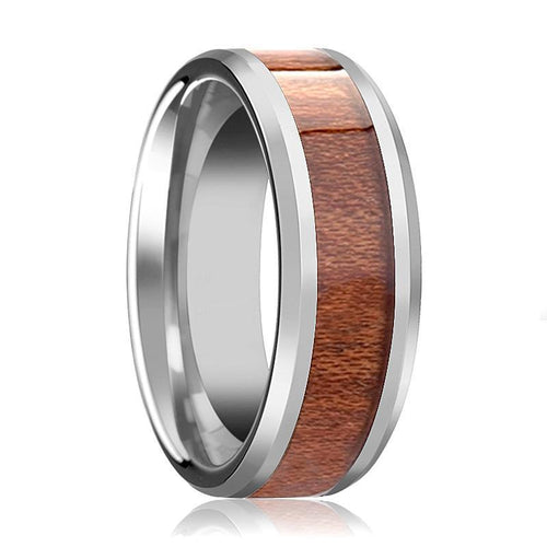 Tungsten Wood Ring - Rosewood Inlay - Tungsten Wedding Band - Polished Finish - 4mm - 6mm - 7mm - 8mm - 10mm - 12mm - Tungsten Wedding Ring - AydinsJewelry