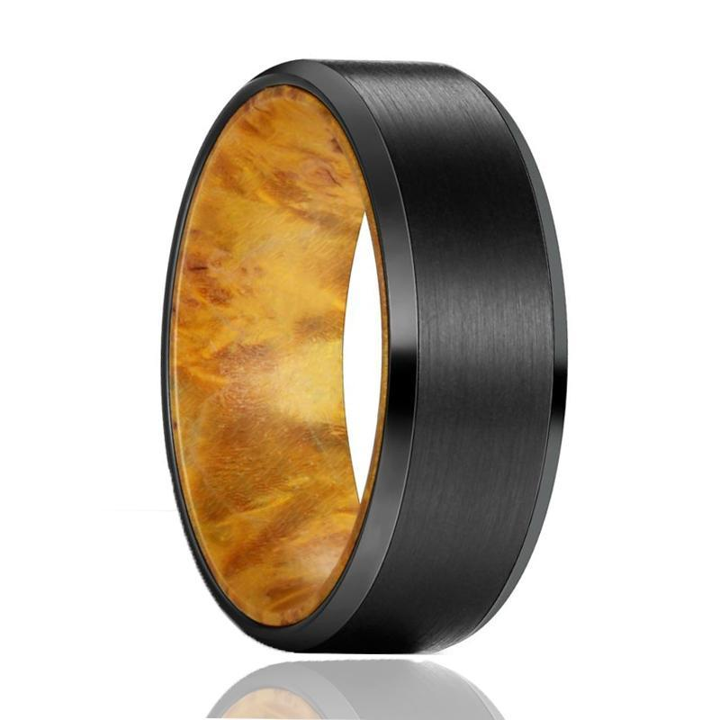AIRBENDER Tungsten Yellow Box Elder Wood Ring--Men's Wedding Band - AydinsJewelry