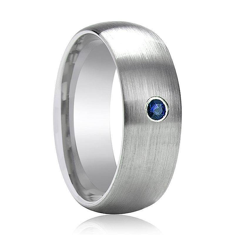 ISAIAH Domed Blue Diamond Brushed Tungsten Wedding Ring