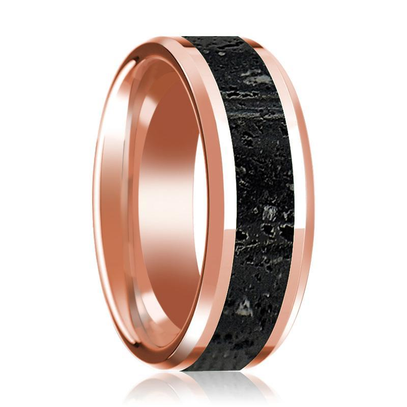 14K Wedding Band in Rose Gold with Lava Rock Inlay Beveled Edge Polished Design - AydinsJewelry