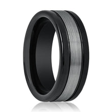 Aydins Tungsten Ring Black Shiny Sides w/ Grey Brushed Stripe Center Wedding Band 8mm Tungsten Carbide Wedding Ring - AydinsJewelry
