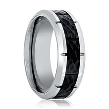 Aydins Mens Tungsten Band Black Hammered Design Center 8mm Tungsten Carbide Wedding Ring - AydinsJewelry