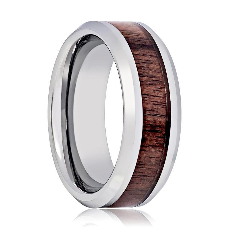 Aydins Tungsten Wedding Ring with Mahogany Wood Inlay Beveled Edge 8mm Tungsten Wedding Band - AydinsJewelry