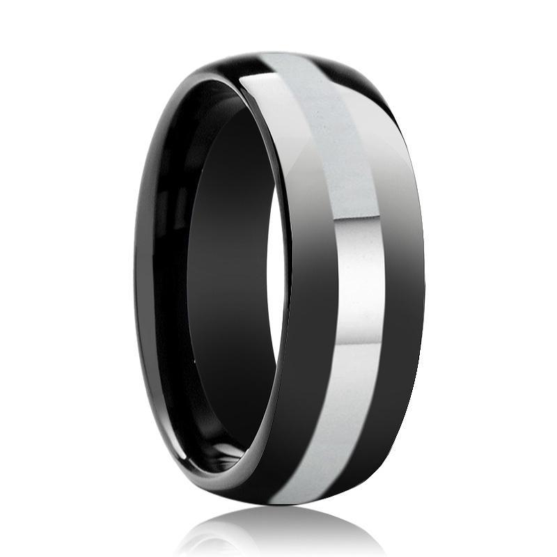 Aydins Tungsten Ring Black Shiny Polished Domed Wedding Band w/ Silver Stripe 8mm Tungsten Carbide Wedding Ring - AydinsJewelry