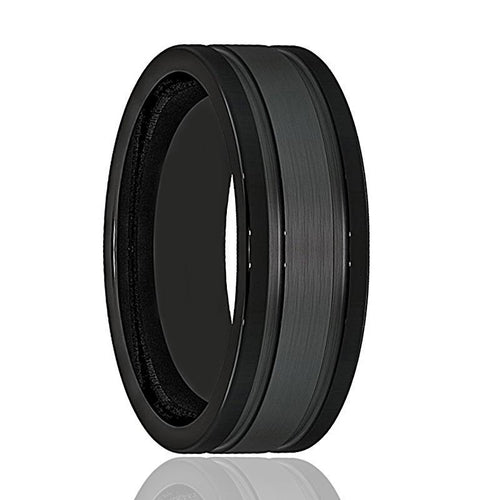 Mens Wedding Band - Tungsten Wedding Band - Black Tungsten Brushed Double Groove   - Tungsten Wedding Ring - Man Tungsten Ring - 8mm - AydinsJewelry