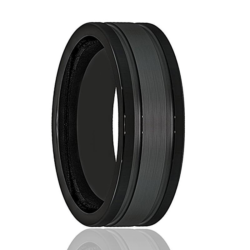 Wildfire Black Tungsten Brushed Double Groove Monica Jewelers