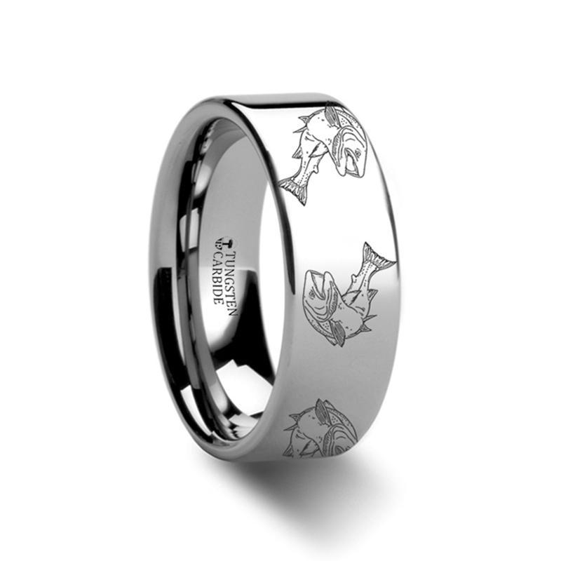 Sea Pattern - Trout Fish - Sea Print Ring - Laser Engraved - Flat Tungsten Ring - 4mm - 6mm - 8mm - 10mm - 12mm - AydinsJewelry