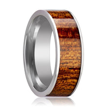 Tungsten Wood Ring - Mahogany Hardwood Inlay - Polished Edges - 8mm - Tungsten Carbide Wedding Ring - AydinsJewelry