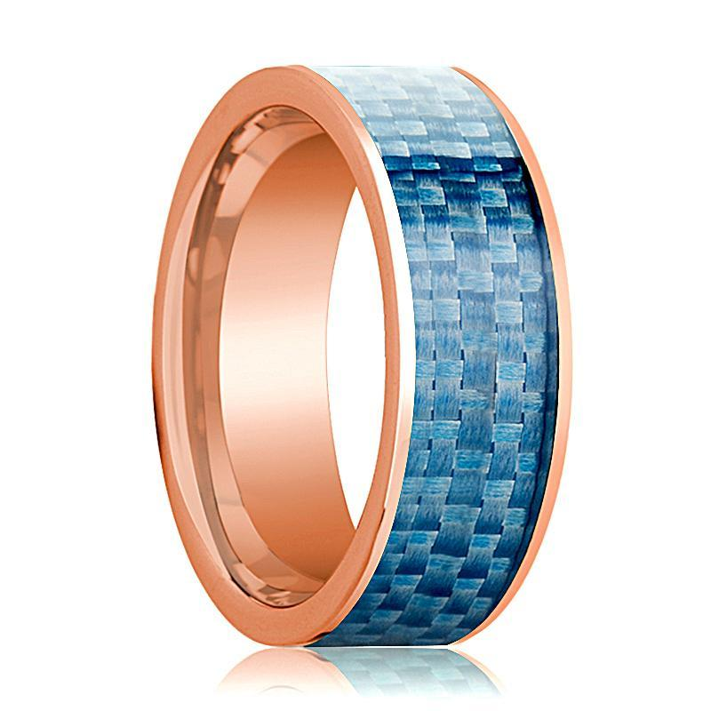 Mens Wedding Band 14K Rose Gold with Blue Carbon Fiber Inlay Flat Polished Design - AydinsJewelry