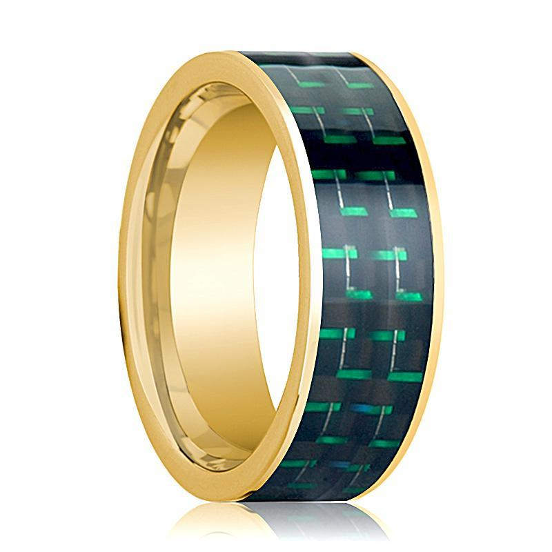 Mens Wedding Band 14K Yellow Gold with Black & Green Carbon Fiber Inlay Flat Polished Design - AydinsJewelry