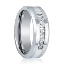 Mens Tungsten Carbide Wedding Band CZ Ring