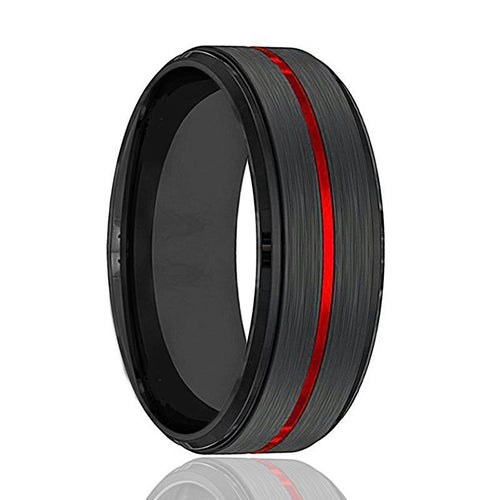 BATMOBILE Red Grooved Tungsten Wedding Band - AydinsJewelry