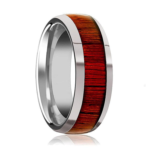 Tungsten Wood Ring - Padauk Wood - Tungsten Wedding Band - Polished Finish - 8mm - Tungsten Wedding Ring - AydinsJewelry