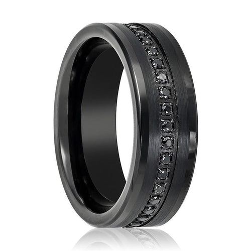 Black CZ Eternity Tungsten Wedding Band - AydinsJewelry