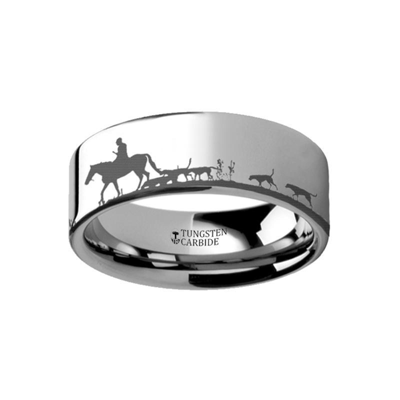 Animal Landscape Scene - Fox Hunt Hunting Ring - Laser Engraved - Flat Tungsten Ring - 4mm - 6mm - 8mm - 10mm - 12mm - AydinsJewelry